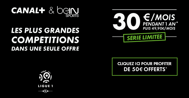 pack canal et bein sport pour 34 90 mois vente flash. Black Bedroom Furniture Sets. Home Design Ideas